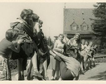 "Vintage Photo ""Epic Seesaw"" Game School Playground Snapshot Photo Old Antique Photo Black & White Photograph Found Photo Paper Ephemera - 24"