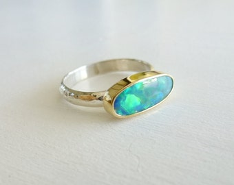 18K Gold Opal ring with iridescent Multicolor Opal doublet, Australian Opal setting, Sterling Silver band, iridescent opal ring