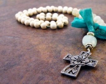Beige Howlite and Light Green Amazonite Cross Necklace with Floral Cross Pendant/ Turquoise Sari Ribbon/ Boho Natural/ Serene Jewelry/ Zen