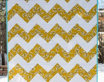 Yellow and White Chevron Quilt