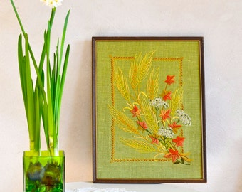 Vintage Crewel Embroidery Wall Hanging Gathered Wheat & Vine Maple on Avocado Green Linen