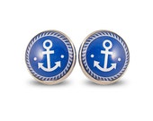 Anchor Retro Studs - Maxi Post Earrings Blue Nautical Vintage Pin Up Spring Summer Colorful Big Round