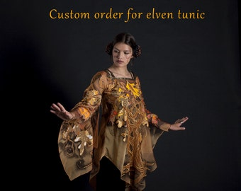 Elven costume, L size, TO ORDER, hand-painted elven tunic in gold, fantasy fashion, Tolkien, costume elf, LOTR, Silmarillion