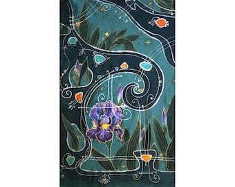Silk scarf, irises, luxury scarf, pure silk, dyed, teal, turquoise, high fashion, Tolkien, painted scarf, elven Art, elven garden, orris