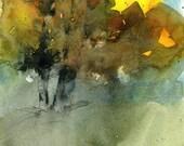 Original watercolor fall tree painting - Autumn shadows