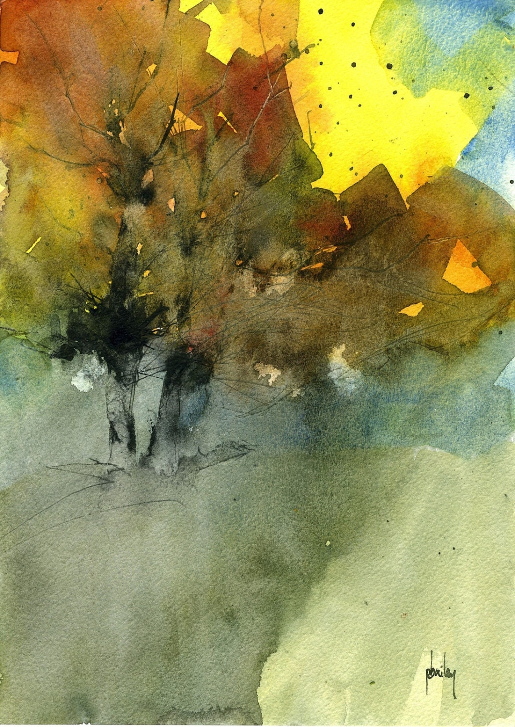 Original watercolor fall tree painting autumn shadows for Autumn tree painting