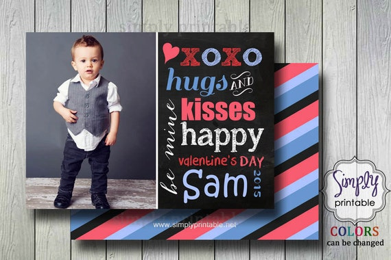Valentines Photo Card - Chalkboard Blue