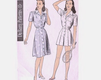 1940s Playsuit Pattern Shorts with Inverted Pleat Skirt Pattern Bust 30 Size 12 DuBarry Patterns 6074 Womens Vintage Sewing Pattern