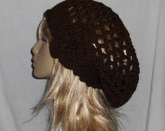 Espresso Brown Crochet Slouchy Hat with Removable Flower - FREE SHIPPING to US and Canada