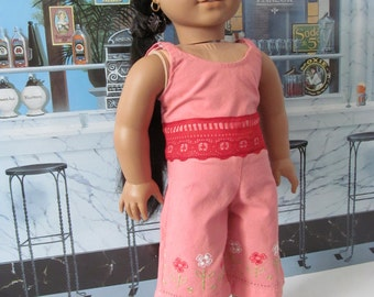 Capri Pants, Lace Camisole, Embroidered Capris, Summer Set, 18 inch Doll Clothes