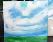 Original art landscape painting on canvas // Affordable original oil art painting  // Shelfie size // 6x6 canvas painting