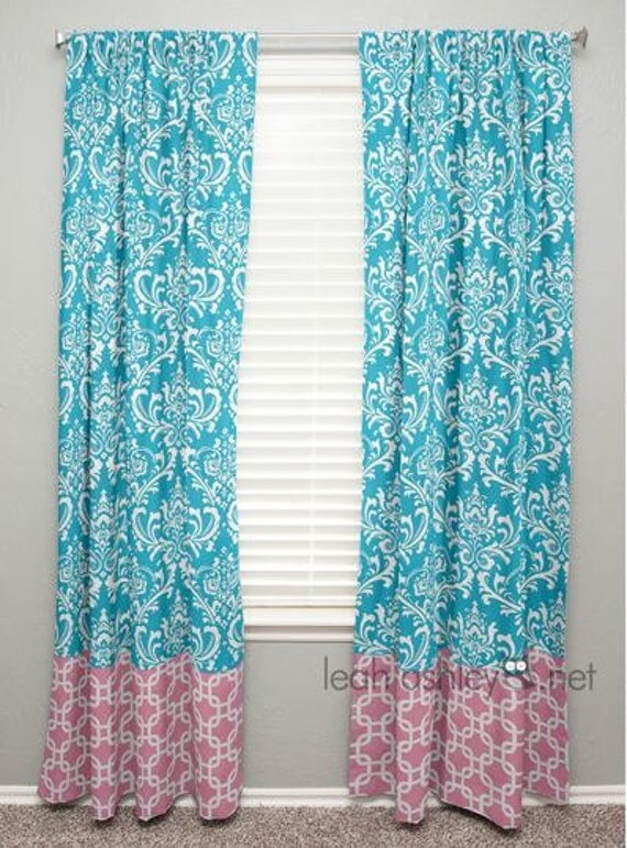 Curtain Panel With Banding Turquoise Damask Pink By Leahashleyokc