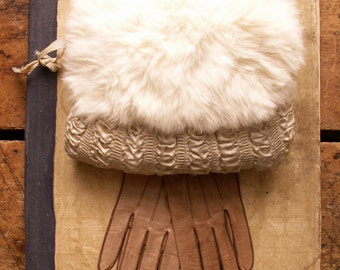 Vintage Girls Ivory Fur Muff with Ruched Fabric - Perfect Winter Wedding Accessory!