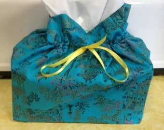 Oriental Bracade - Tissue Cover - Cotton - Home Decor - Furnishings - Accesories - Novelty - Blue Paisley Tissue Box Cover Case
