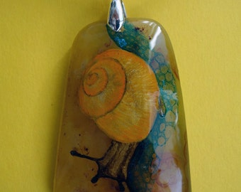 FREE SHIPPING Hand painted stone   Pendant snail 2