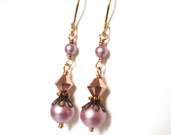 Pink pearl gold earrings, rose gold metallic Austrian crystal, mixed brass, gold plated hooks, bead link earrings, wirewrapped pink jewelry