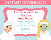 Spa party printable invitation - INSTANT DOWNLOAD