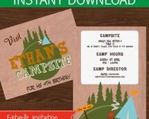 Camping invitation editable DIY Printable Kit - INSTANT DOWNLOAD -