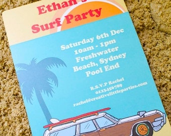 Surf Party Invitation - Surf Birthday Party - Printable Invite - INSTANT DOWNLOAD -