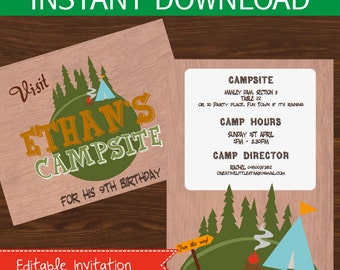 Camping invitation editable DIY Printable Kit - INSTANT DOWNLOAD -
