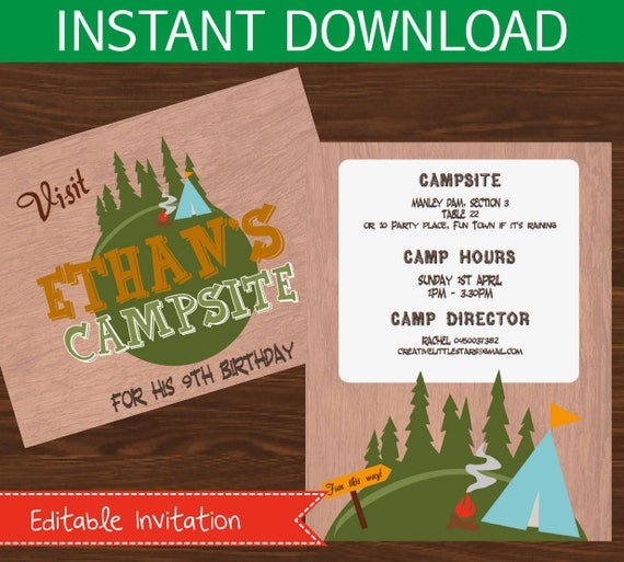 camping invitation editable diy printable kit instant