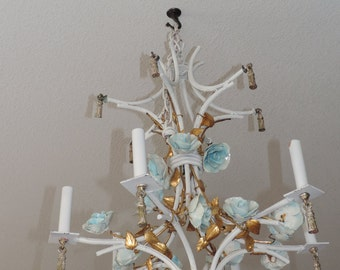 Reserved - Do NOT purchase Hollywood Regency Style Italian Chandelier Chandelier Italian Ceramic floral Cottage Chic Hanging Light