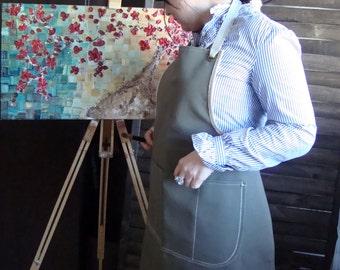 Waxed Canvas  apron, Shop Apron, artist's apron, crafter's apron, workshop apron