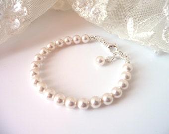 Pearl Bracelet, Pearl Bracelet Bridesmaid, Pearl Bracelet Wedding, Ivory Pearl Bracelet, White Pearl Bracelet, Pearl Bridesmaid Jewelry
