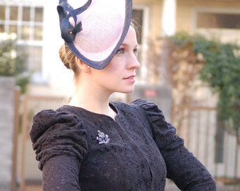 Violet and Navy fashion races hat fascinator