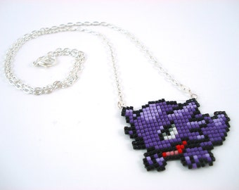 Pixelated Beaded Haunter Pokemon Sprite Necklace - Ghost Video Game Geeky Nerdy Jewelry