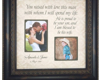 Parents of the Groom Gift, Mother of the Groom, Father of the Groom, Parents Thank You Personalized Frame, You Raised With Love, 16 X 16