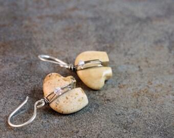Jasper Zuni bear and Czech crystal drop earrings in sterling silver
