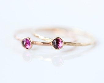 Rhodolite garnet & 14k gold fine stacking ring, january birthstone, valentines gift, thin gold ring, pink gemstone