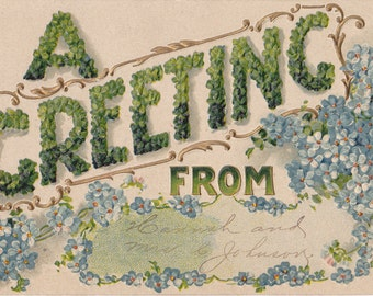 A Greeting In Clover- 1900s Antique Postcard- Forget-Me-Nots- Lucky Charms- Good Luck- B. B. London- Edwardian Floral- Paper Ephemera