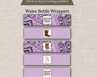 Cowgirl Water Bottle Labels - purple | Cowgirl Water Bottle Wrappers | Cowgirl Drink Labels | Western Birthday Party Printables