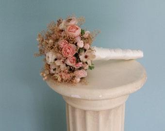Dried Bridal Bouquet blush silk Wedding Flower champagne babys breath set of 2 bridesmaid accessories peach everlasting artificial