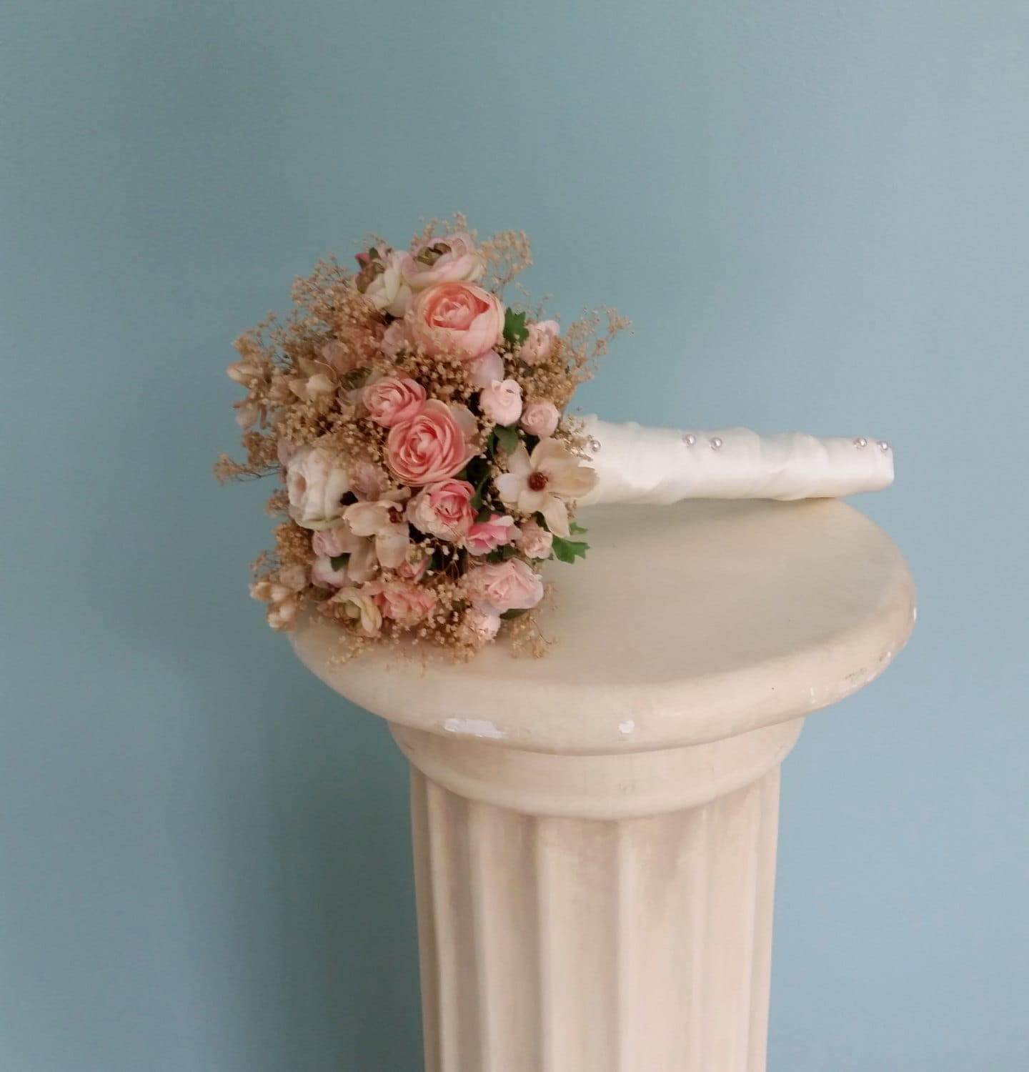 dried bridal bouquet blush silk wedding flower champagne babys