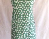 St. Patrick's Day Women's Apron White Clover Shamrock Green Full Size 100% Cotton Fabric Luck of the Irish