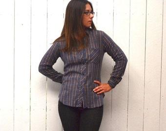 Plaid Button Up Shirt - 1970s Western Long Sleeve Shirt - Blue Beige - Vintage Womens Shirt - Small S / Medium M