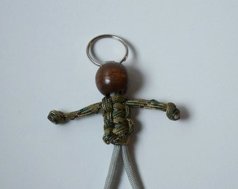 Stocking Stuffer, 550 Paracord Person, Camouflage and Grey, Geocaching Swag, Fun Key Fob