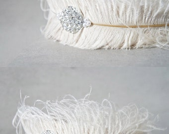 Feather Bridal Headband - White Ostrich Feather Bridal Headband - Princess Costume - White Crystal Feather Crown - White Feather Headband