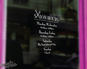 FREE SHIPPING Hair Salon Hours Scissors Window Decal ~ Custom Size and Color