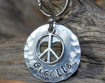 Dog Tag/Tags / Pet ID Tag / Dog Collar Tag / Personalized / Pet Charm / Keychain / Unique Hand Stamped / Peace