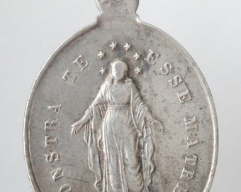 Mother Mary French Antique Sterling Silver Religious Medal Pendant on 18 inch sterling silver rolo chain