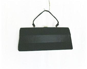 Vintage 50s 60s Black Satin Stripe Trapezoid Purse Clutch Handbag Clamshell