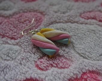 Marshmallow Earrings ( cute earrings food earrings food jewelry food miniature marshmallow funny jewelry gift for girl silver earrings )