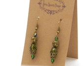 Dainty green glass bead earrings with filigree - special holiday price!  gifts under 10 SST3111