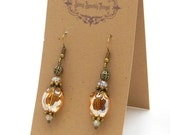 Pretty little gold glass bead earrings with filigree - special holiday price!  gifts under 10 SST3120