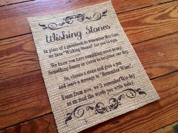Items Similar To Burlap Quot Wishing Stones Quot Poem Sign Wedding Burlap Decor Marriage Decor On