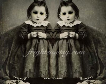 Creepy Halloween Art, Black and White, Twin Art, Halloween Decor, Gothic Art Print, Mixed Media, frighten